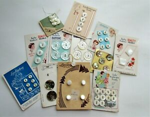 Vintage Sewing Buttons On Cards Mixed Lot Mother Of Pearl Shirt Abalone Sets