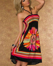 Boho UK Womens Floral Print Cocktail Dress Ladies Strapless Evening Party Dress