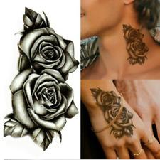 Waterproof Black Double Rose Temporary Tattoo Fake Body Art Sticker Women Men