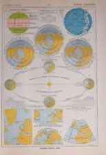1913 MAP THE WORLD SEASONS CONSTELLATIONS EQUINOXES SOLSTICE PROJECTION