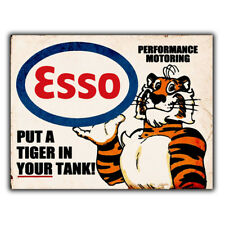 Esso Tiger Oil Petrol METAL SIGN WALL PLAQUE Retro Advert man cave shed garage