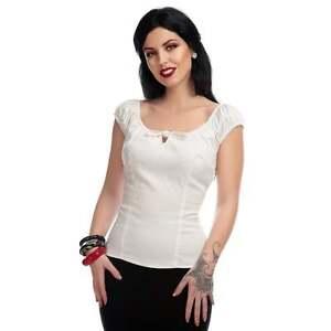 Collectif White Lorena Tie Front Gypsy Top Rockabilly 50s Retro Vintage Pin Up