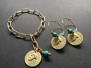 GOLD Coin And Turquoise Paperclip Chain Bracelet And Gold Coin Hoop Earrings