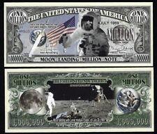 Moon Landing Million Dollar Bill Fake Funny Money Novelty Note + FREE SLEEVE