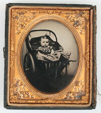 AMBROTYPE POUTY BABY IN CARRIAGE, TINTED. 1/6 PLATE, HALF CASE.
