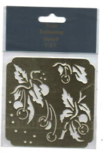 Brass/stencil/Square/Cherry / Cherries / Leaf //Emboss/Embossing/Nice