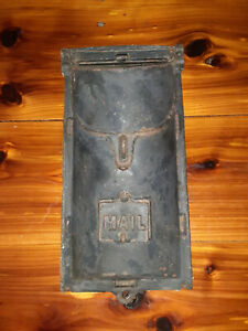 Antique/Vintage Black Metal Wall Mount Mailbox Letter Box with MAIL sight flap