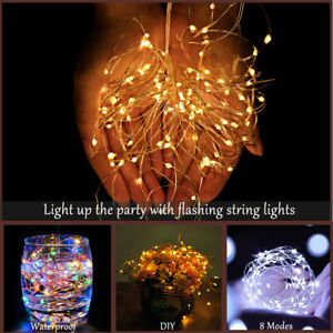 50/100/200 LED Cool White Batter Fairy String Light Micro Rice Wire Copper Party