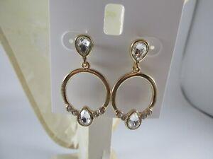 Charter Club Double Hoop White Crystal Post Earrings
