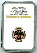 2010 CANADA PROOF CENT NGC PF70 UCAM RCM OBVERSE DESIGN OF FIRST DOLLAR