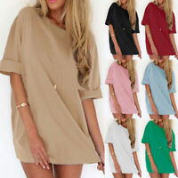 Summer Women's T-Shirt Casual Solid Plus Size Party Long Shirt Dress