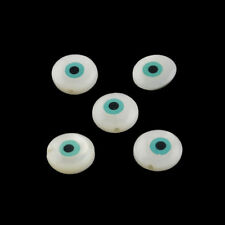 50pcs Natural Freshwater Shell Beads Round Smooth Evil Eye Loose Beads 9~10mm