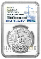 2016 SILVER MARK TWAIN PROOF $1 - NGC PF70 FIRST RELEASES ULTRA CAMEO - W/ OGP