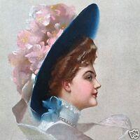 Vintage Original FLOWER HAT VICTORIAN STONE LITHOGRAPH PRINT NOS Unused 1910s