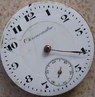 Chronometre Fine Pocket Watch movement & enamel dial 42,5 mm. in diameter