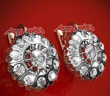 Russian style White Topaz Earrings 14k Rose White Gold