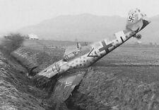 WWII B&W Photo Luftwaffe Bf109 In Ditch  WW2 World War Two Germany Me109 / 6053