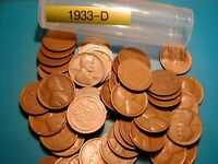 1933-P LINCOLN WHEAT CENT PENNY ROLL 50 coins
