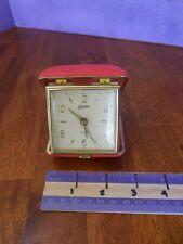 Vintage Linden Travel Alarm Clock Wind Up Red Snap Pocket Close Case