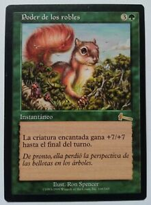 Might of Oaks MTG MISPRINT Says enchanted creature instead of target creature