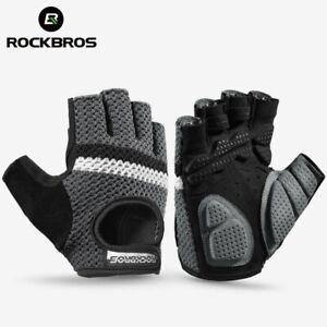 ROCKBROS Cycling Knitted Half Finger Gloves Breatahble SBR Shockproof Bike Glove