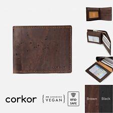 Corkor Vegan Cork Passcase Wallet — RFID Blocking Bifold Handmade With ID Window