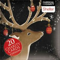 Box of 20 Reindeer & Santa Shelter Fairdeal Charity Christmas Cards Boxed