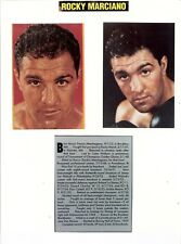 8x10 Sheet of Two Color Photos & Bio of Heavyweight Champion Rocky Marciano HOF
