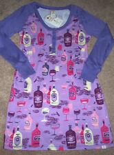 NWT Munki Munki Purple/Pink Henley Sleep Shirt Nightgown WINES M Pajamas Glasses