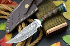 Custom Damascus Steel Hunting Knife Handmade With Impala Horn Handle (Z219)