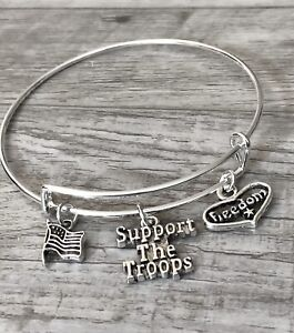 """U.S Military """"Support the Troops"""" Silver charms Expandable Bangle Bracelet"""