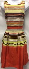 Anthropologie JUST TAYLOR Dress Striped Fit Flare Sleeveless Pleated Size 2