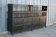 Vintage Industrial China Cabinet. All Steel Liquor Cabinet. Custom Shelving Unit