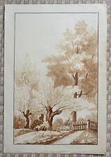 Grand dessin au lavis début XIXème - Paysage - Signature à identifier - 1802