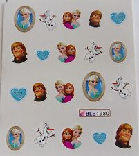 Nail Art FROZEN Elsa Anna Olaf Kristoff Heart Girls Water Decal Sticker NEW 1980