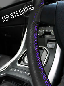 FOR MERCEDES 380SL BLACK LEATHER STEERING WHEEL COVER PURPLE DOUBLE STITCH 72-89