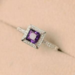Amethyst Engagement Ring 5 mm Square amethyst engagement Band amethyst Promise