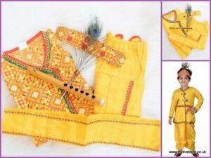 Kids children kanha KRISHNA fancy dress up COSTUME bal Gopal Kurta Dhoti Mukut