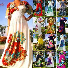Full Length Plus Size Short Sleeve Casual Women's Dresses