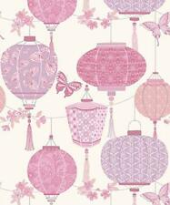 Pink Butterfly Oriental Chinese Lanterns Quality Feature Wallpaper Rasch 224313