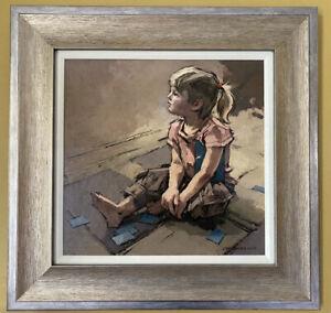 "John McCombs Original Oil ""Child With Card Game ""(Natalya) 22 "" X 22 3/4 """