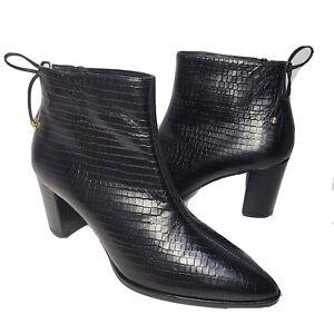 Stuart Weitzman Women ankle boots Gardiner Croc-Embossed Booties Black Sz 10 new