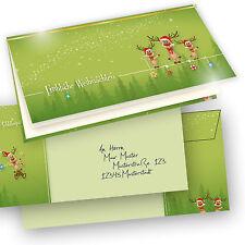 Weihnachtskarten lustig Rentiere 25 Sets grün