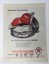 Original Print Ad 1952 TEXACO Fire hat Hat Box Styled for Going Places