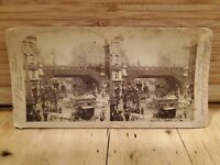Antique Stereoscope Stereo Photo Cards 1899 LONDON ENGLAND DOWNTOWN CARRIAGE