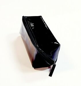 Cosmetic Zip Travel Bag Single Compartment Pouch Black Faux Patent Leather