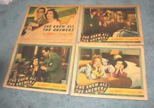 """ SHE KNEW ALL THE ANSWERS "" 5 ORIGINAL 1941 LOBBY CARDS"