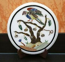13 Inches Marble Coffee Table Round Shape Side Table Top Bird Design Inlaid