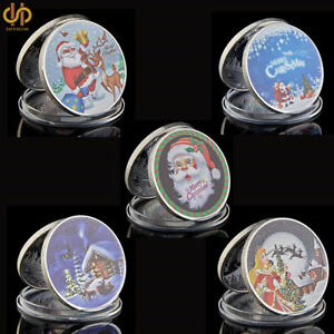 5PCS 2018 Merry Christmas Silver Santa Claus Coin Set Elk Worth to Collection