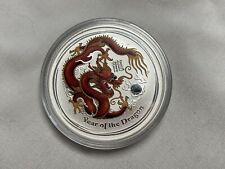 2012 Australia $1 Lunar Year of the Dragon 1 oz .999 Silver Colorized Red